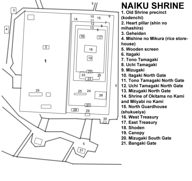 A site plan of the Naiku Shrine