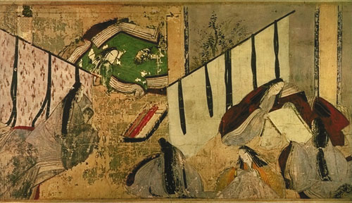 Scene from Murasaki Shikibu's The Tale of Genji, Japanese scroll painting, Heian period, 12th century.