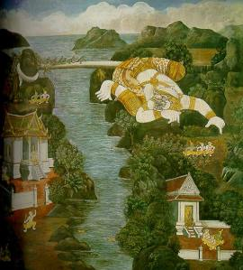 """Hanuman sends a nymph, Busmali, who was also cursed by Indra, back to heaven. He forms his body into a bridge so that his monkey followers may continue on their way to find Sita. They meet a monk and ask him the way to reach Langa, the city of Demons."""