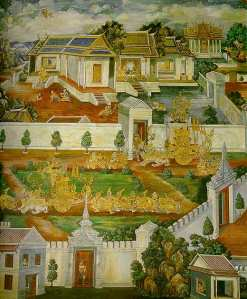 """Tosakanth tries to woo Sita, who is living in a garden outside the city of Langa. Sita tries to hang herself under the tree, but Hanuman saves her life and gives her Rama's ring (upper right hand corner)."""